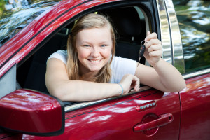 Beautiful Teen Girl with New Car